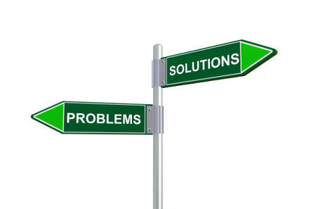 problems: 3d illustration of problems and solutions road sign.