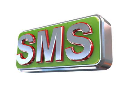 short message service: 3d illustration concept presentation of sms -  short message service