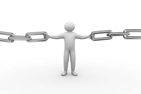 chainlinks: 3d illustration of person holding chain. 3d human person character and white people