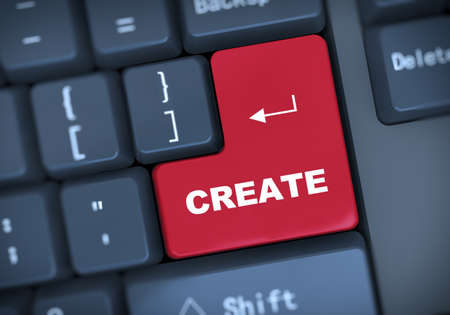 3d illustration of computer keyboard enter button with word create Stock Photo