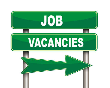 job vacancies: Illustration of green arrow and road sign of job vacancies