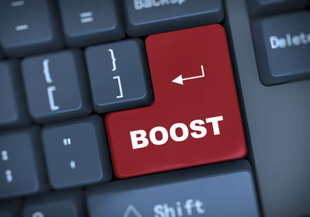 boost: 3d illustration of computer keyboard enter button with text boost
