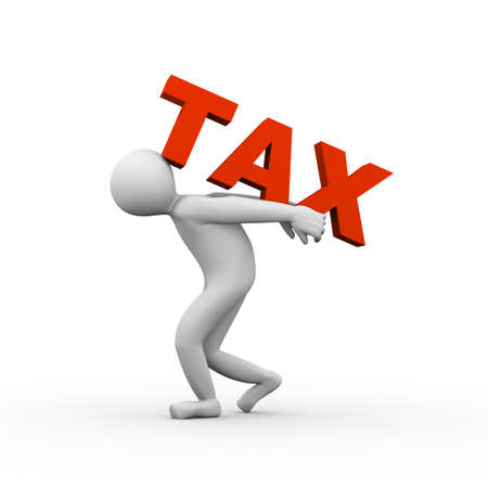 helper: 3d illustration of person carrying word tax on his back. 3d human person character and white people