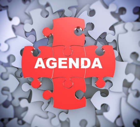 attached: 3d illustration of attached jigsaw puzzle pieces word agenda presentation on background of heap of puzzle pieces