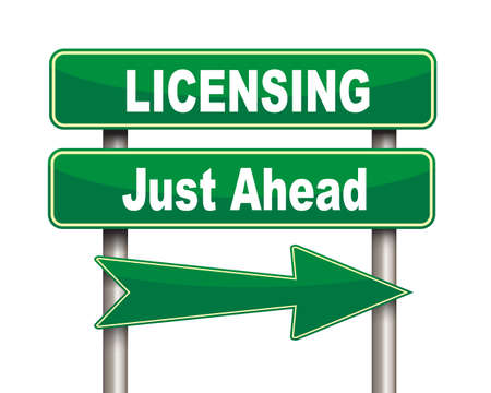 licensing: Illustration of green arrow and road sign of licensing just ahead