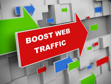 web traffic: 3d illustration of moving arrow of boost web traffic on abstract wall background