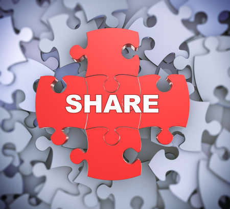 distribute: 3d illustration of attached jigsaw puzzle pieces word share presentation on background of heap of puzzle pieces