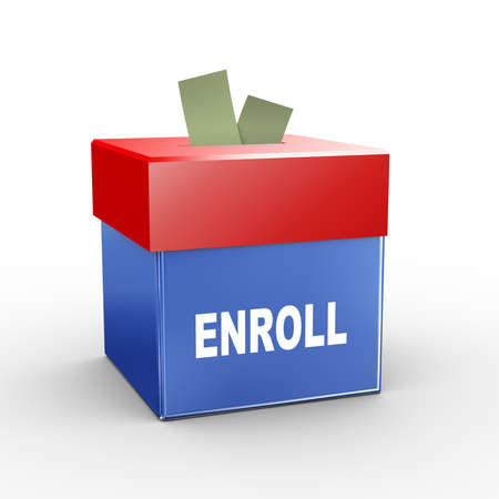 enlisting: 3d illustration of collection box of enroll