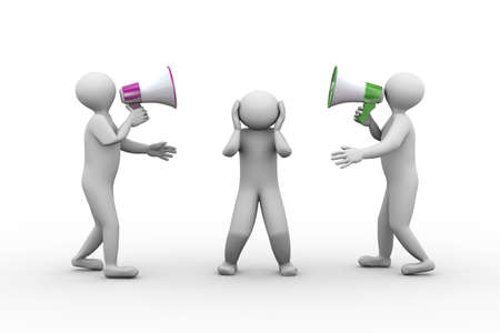 man yelling: 3d illustration of two person shouting and yelling through megaphone to another man. 3d human person character and white people Stock Photo