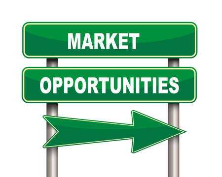 green arrow: Illustration of green arrow and road sign of market opportunities Stock Photo