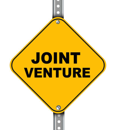 venture: Illustration of yellow signpost road sign of joint venture