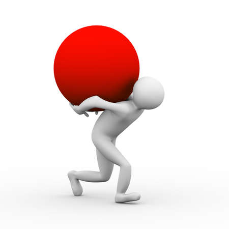 red sphere: 3d illustration of a person caryying red large sphere ball on his back. 3d human person character and white people
