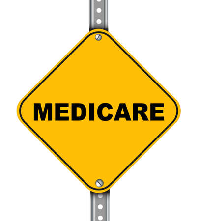 medicaid: Illustration of yellow signpost road sign of medicare