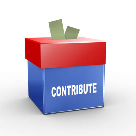 contribute: 3d illustration of collection box of contribute