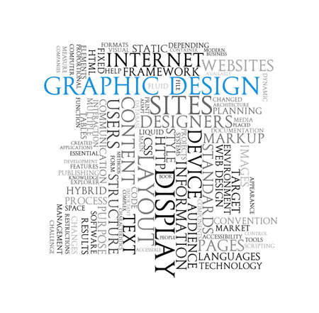 Illustration of wordcloud of word tags graphic design