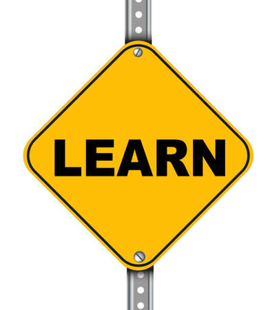 able to learn: Illustration of yellow signpost road sign of learn