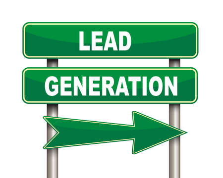 referrals: Illustration of green arrow and road sign of lead generation