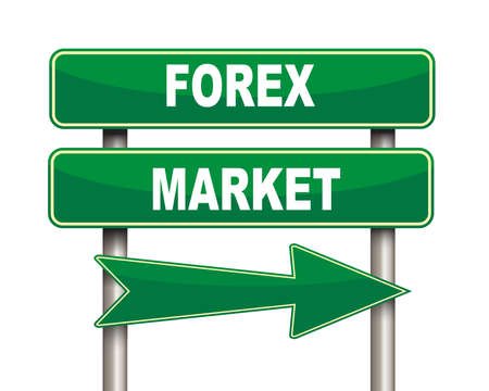 green arrow: Illustration of green arrow and road sign of forex market
