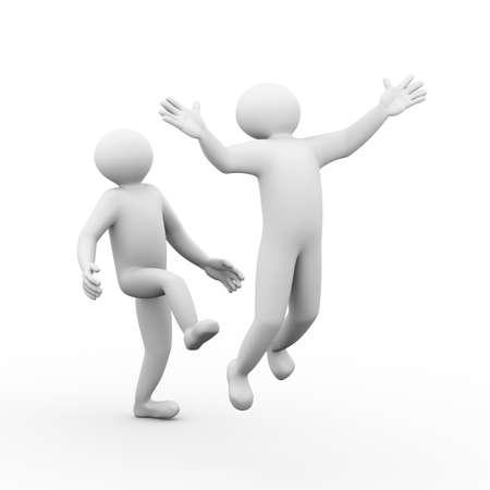 irrespeto: 3d ilustración de la persona que echar a su empleado. 3d carácter del hombre de la persona humana y los blancos