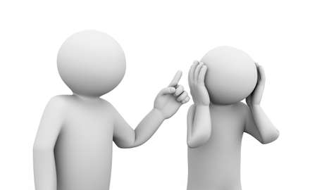 personas enojadas: 3d ilustración de argumento persona con su pareja. lucha de la pareja infeliz. 3D carácter humano y los blancos