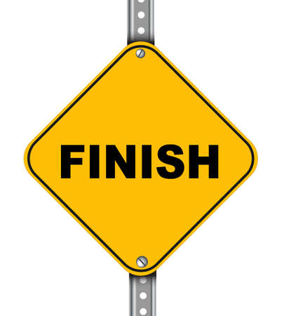 complete solution: Illustration of yellow signpost road sign of finish