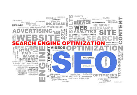 metasearch: Illustration of wordcloud word tags of concept of seo search engine optimization