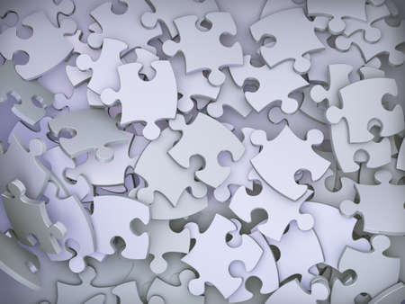 pieces: 3d illustration of background of lots of puzzle pieces. Stock Photo