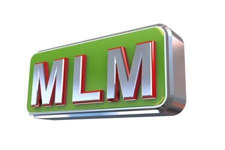 multi level: 3d illustration concept presentation of mlm - multi level marketing