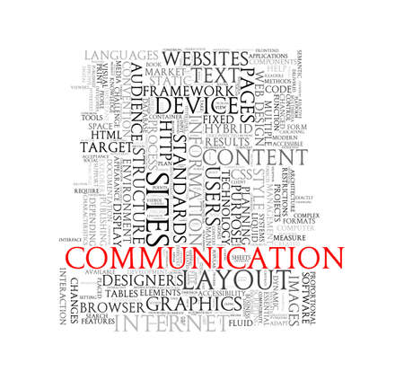 surfing the net: Illustration of word tags wordcloud of communication Stock Photo