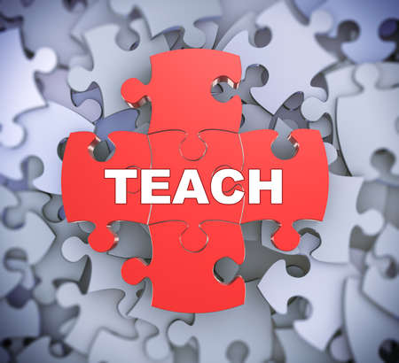 able to learn: 3d illustration of attached jigsaw puzzle pieces word teach presentation on background of heap of puzzle pieces