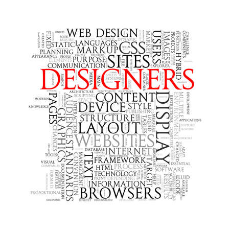 Illustration of wordcloud word tags designers
