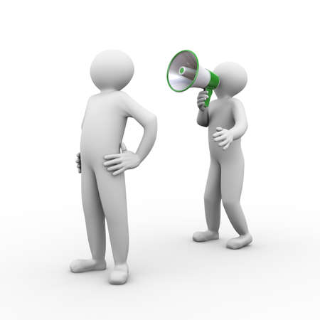 expostulate: 3d illustration of person yelling through megaphone. 3d human person character and white people