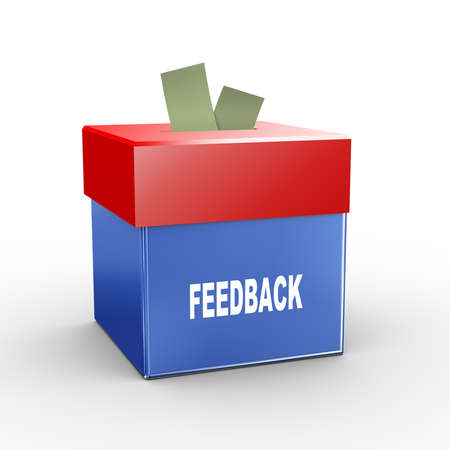 commenting: 3d illustration of collection box of feedback Stock Photo