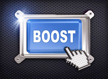 boost: 3d illustration of hand cursor pointer and chrome button presentation of concept of boost