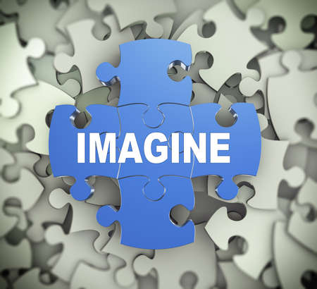 envisage: 3d illustration of attached jigsaw puzzle pieces word imagine presentation on background of heap of puzzle pieces