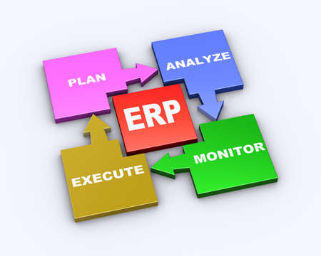 supplier: 3d illustration of flow chart cycle diagram of erp enterprise resource planning