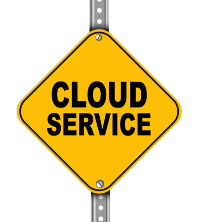 Illustration of yellow signpost road sign of cloud service