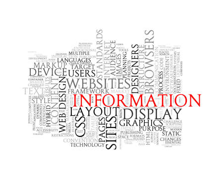 www community: Illustration of word tags wordcloud of information
