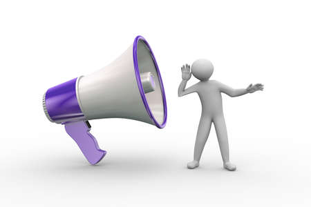 annoucement: 3d illustration of man listening to large megaphone annoucement. 3d human person character and white people