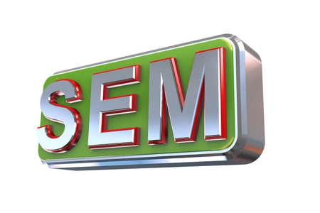 sem: 3d illustration concept presentation of sem -  search engine marketing Stock Photo