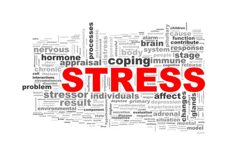 Illustration of wordcloud word tags of concept of stress Stock Photo
