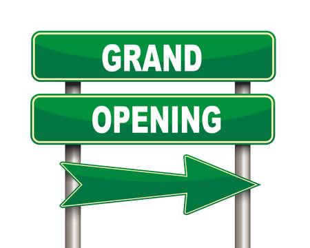 abertura: Ilustración de la flecha verde y la carretera signo de gran apertura Foto de archivo