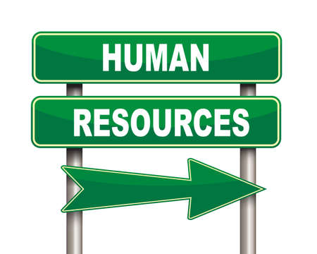 leading the way: Illustration of green arrow and road sign of human resources