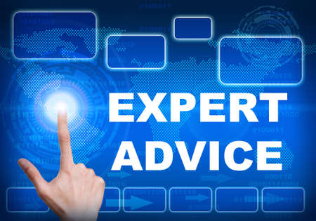 Illustration of human finger pressing high tech glowing modern expert advice interface touch screen button on abstract blue technology digital background Stock Photo