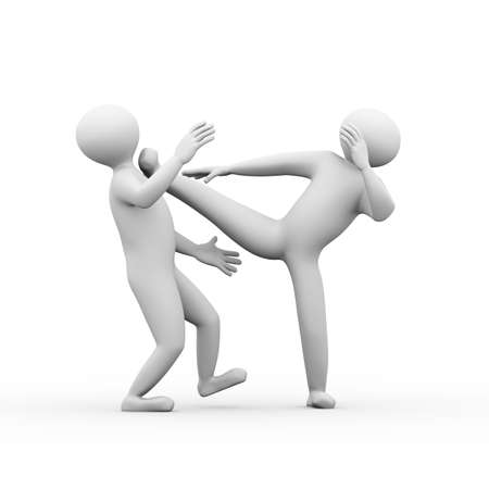 attacker: 3d illustration of man fighting with karate kung fu kick. 3d human person character and white people Stock Photo