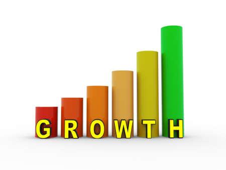 grow money: 3d illustration of growth progress bars Stock Photo