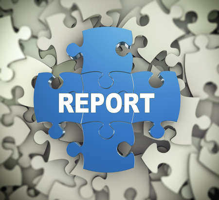 attached: 3d illustration of attached jigsaw puzzle pieces word report presentation on background of heap of puzzle pieces