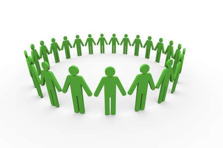 manos unidas: 3d ilustración de personas en círculo. Concepto de trabajo en equipo, la globalización, la paz, la amistad