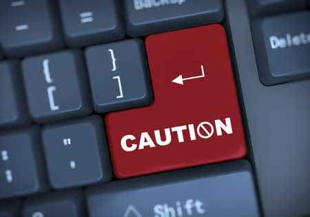 watchfulness: 3d illustration of computer keyboard enter button with word caution Stock Photo