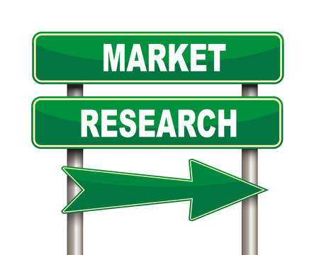 green arrow: Illustration of green arrow and road sign of market research Stock Photo